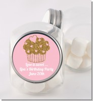 Gold Glitter Cupcake - Personalized Birthday Party Candy Jar