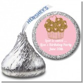 Gold Glitter Cupcake - Hershey Kiss Birthday Party Sticker Labels