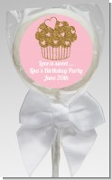 Gold Glitter Cupcake - Personalized Birthday Party Lollipop Favors