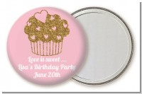 Gold Glitter Cupcake - Personalized Birthday Party Pocket Mirror Favors