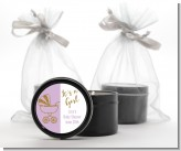 Gold Glitter Lavender Carriage - Baby Shower Black Candle Tin Favors