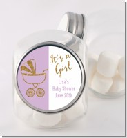 Gold Glitter Lavender Carriage - Personalized Baby Shower Candy Jar