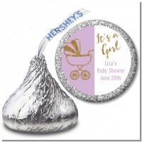 Gold Glitter Lavender Carriage - Hershey Kiss Baby Shower Sticker Labels