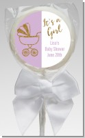 Gold Glitter Lavender Carriage - Personalized Baby Shower Lollipop Favors