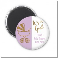 Gold Glitter Lavender Carriage - Personalized Baby Shower Magnet Favors