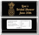 Gold Glitter Pineapple - Personalized Bridal Shower Candy Bar Wrappers