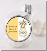 Gold Glitter Pineapple - Personalized Birthday Party Candy Jar