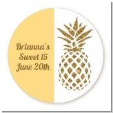 Gold Glitter Pineapple - Round Personalized Birthday Party Sticker Labels