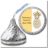 Gold Glitter Pineapple - Hershey Kiss Birthday Party Sticker Labels