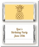 Gold Glitter Pineapple - Personalized Birthday Party Mini Candy Bar Wrappers