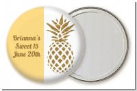Gold Glitter Pineapple - Personalized Birthday Party Pocket Mirror Favors