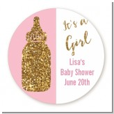 Gold Glitter Pink Baby Bottle - Round Personalized Baby Shower Sticker Labels