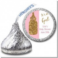Gold Glitter Pink Baby Bottle - Hershey Kiss Baby Shower Sticker Labels