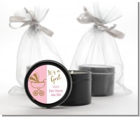 Gold Glitter Pink Carriage - Baby Shower Black Candle Tin Favors