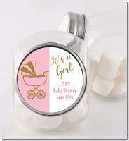 Gold Glitter Pink Carriage - Personalized Baby Shower Candy Jar