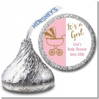 Gold Glitter Pink Carriage - Hershey Kiss Baby Shower Sticker Labels