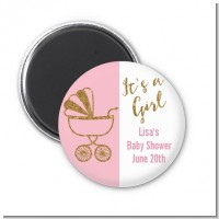 Gold Glitter Pink Carriage - Personalized Baby Shower Magnet Favors