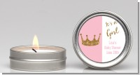Gold Glitter Pink Crown - Baby Shower Candle Favors