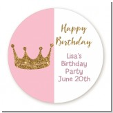 Gold Glitter Pink Crown - Round Personalized Birthday Party Sticker Labels
