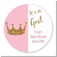 Gold Glitter Pink Crown - Round Personalized Baby Shower Sticker Labels