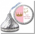 Gold Glitter Pink Crown - Hershey Kiss Baby Shower Sticker Labels thumbnail