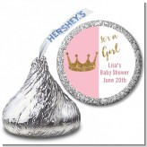 Gold Glitter Pink Crown - Hershey Kiss Baby Shower Sticker Labels