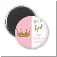 Gold Glitter Pink Crown - Personalized Baby Shower Magnet Favors