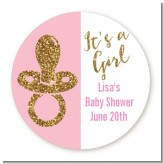 Gold Glitter Pink Pacifier - Round Personalized Baby Shower Sticker Labels