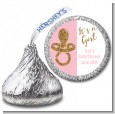 Gold Glitter Pink Pacifier - Hershey Kiss Baby Shower Sticker Labels thumbnail