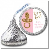 Gold Glitter Pink Pacifier - Hershey Kiss Baby Shower Sticker Labels