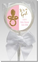 Gold Glitter Pink Pacifier - Personalized Baby Shower Lollipop Favors