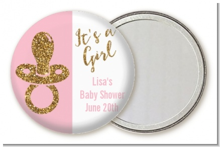 Gold Glitter Pink Pacifier - Personalized Baby Shower Pocket Mirror Favors