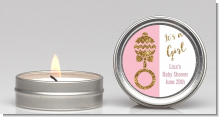 Gold Glitter Pink Rattle - Baby Shower Candle Favors
