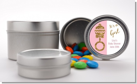 Gold Glitter Pink Rattle - Custom Baby Shower Favor Tins