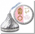 Gold Glitter Pink Rattle - Hershey Kiss Baby Shower Sticker Labels thumbnail