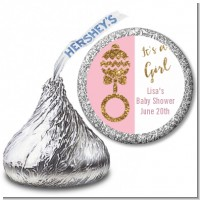 Gold Glitter Pink Rattle - Hershey Kiss Baby Shower Sticker Labels