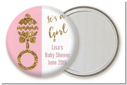 Gold Glitter Pink Rattle - Personalized Baby Shower Pocket Mirror Favors