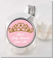 Gold Glitter Pink Tiara - Personalized Baby Shower Candy Jar