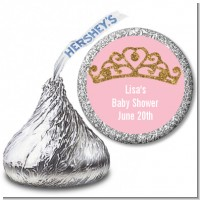 Gold Glitter Pink Tiara - Hershey Kiss Baby Shower Sticker Labels