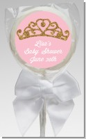 Gold Glitter Pink Tiara - Personalized Baby Shower Lollipop Favors