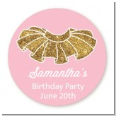 Gold Glitter Tutu - Round Personalized Birthday Party Sticker Labels