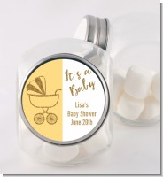 Gold Glitter Yellow Carriage - Personalized Baby Shower Candy Jar