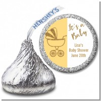 Gold Glitter Yellow Carriage - Hershey Kiss Baby Shower Sticker Labels