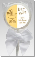 Gold Glitter Yellow Carriage - Personalized Baby Shower Lollipop Favors