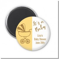 Gold Glitter Yellow Carriage - Personalized Baby Shower Magnet Favors