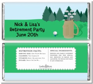 Golf - Personalized Retirement Party Candy Bar Wrappers