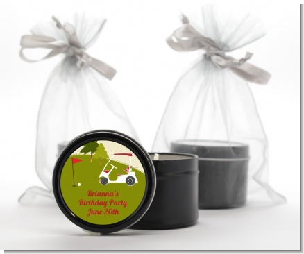Golf Cart - Birthday Party Black Candle Tin Favors