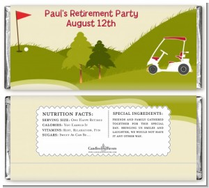 Golf Cart - Personalized Retirement Party Candy Bar Wrappers
