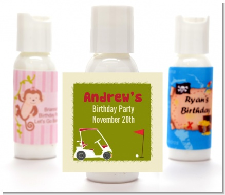Golf Cart - Personalized Birthday Party Lotion Favors