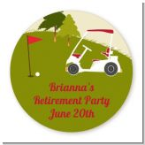 Golf Cart - Round Personalized Retirement Party Sticker Labels